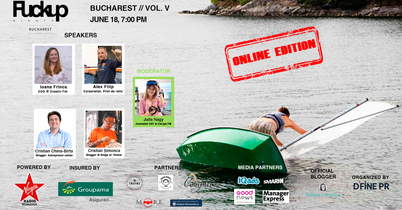 Fuckup Nights București, ediția a V-a online: cum construiești după un eșec