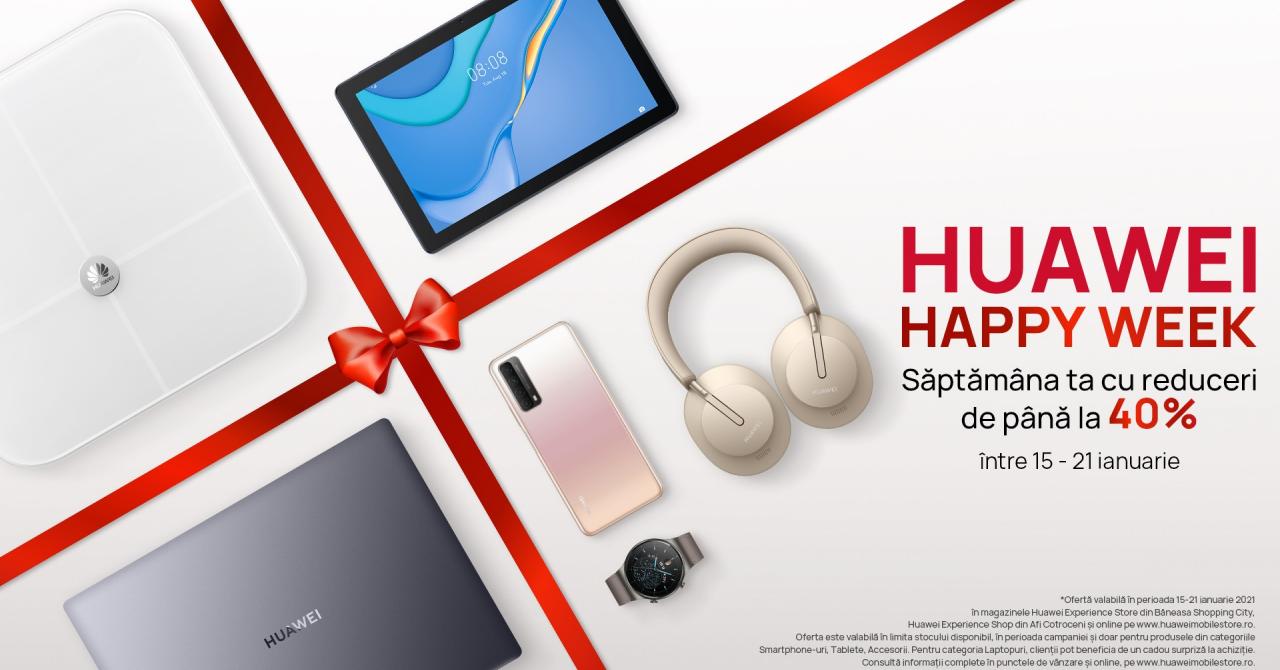 Huawei Happy Week: Reduceri de până la 40% între 15 și 21 ianuarie