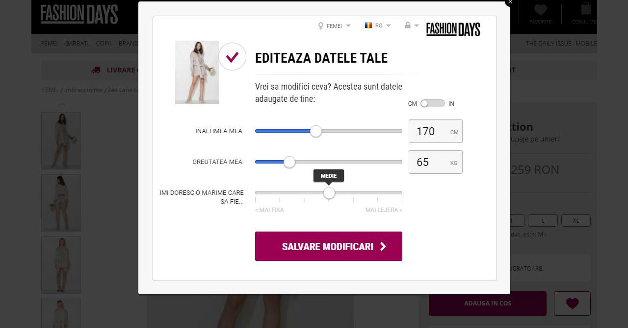 Fashion Days Fit Finder te ajută să-ți comanzi doar haine pe măsura ta