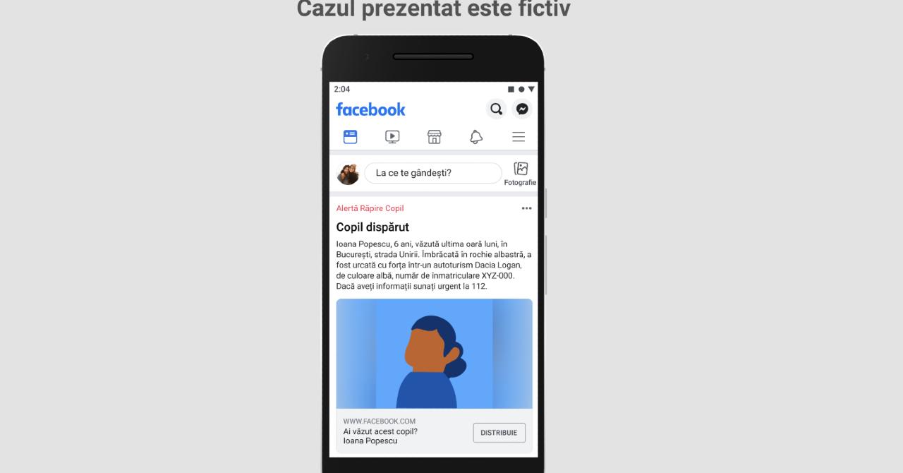 Facebook lansează un sistem de alertă pentru localizarea copiilor dispăruți