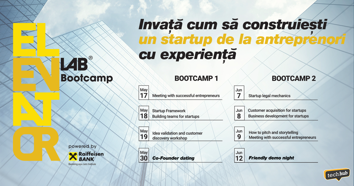 Elevator Lab Bootcamp - program educațional pentru fintech-uri