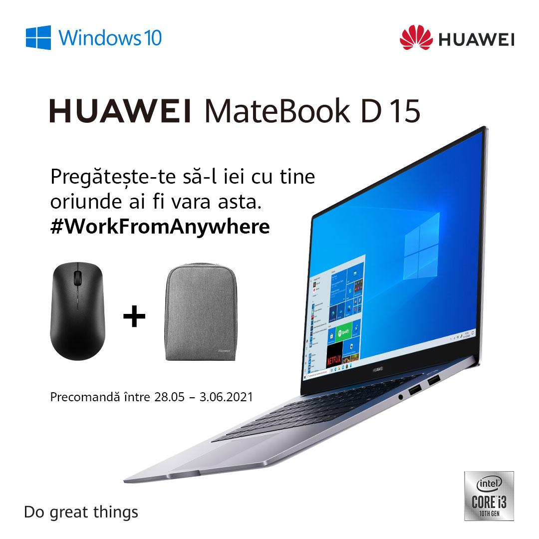 Huawei lansează noul MateBook D15 echipat cu procesorul Intel Core i3