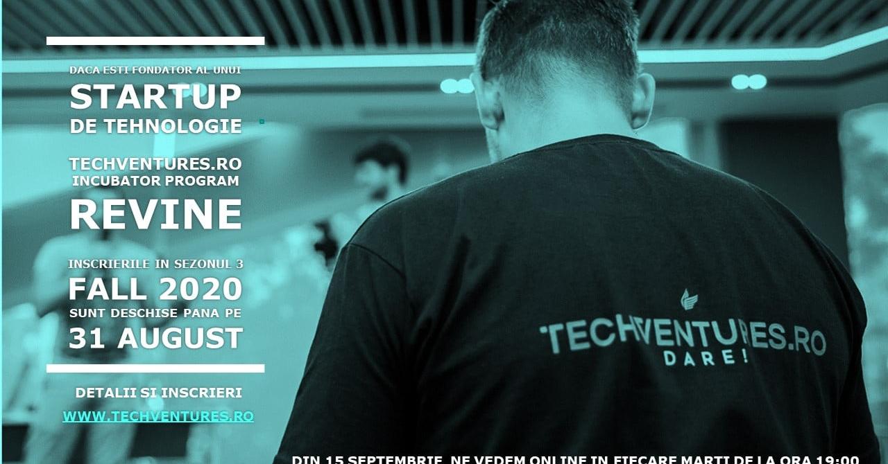 Înscrieri deschise la incubatorul Tech Ventures: cursurile se țin online