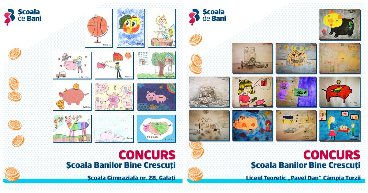 """Concursul """"Școala banilor bine-crescuți"""": Peste 1.000 de elevi au înscris desene"""