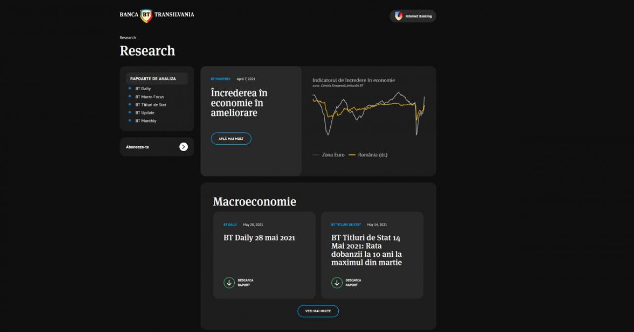 Banca Transilvania lansează un centru online de research, cu acces liber la analizele macroeconomice