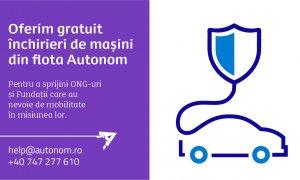Coronavirus | Autonom închiriază gratuit mașini ONG-urilor și Fundațiilor