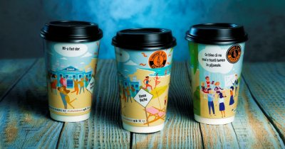 Franciza Coffee 2 Go - pahare noi pictate de artiști tineri din România
