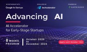 Advancing AI, accelerator Google & Techcelerator. Finanțări de până la 200.000 €