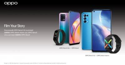 Precomandă Oppo Reno5 5G și Oppo Reno5 cu Oppo Watch inclus sau Oppo Band