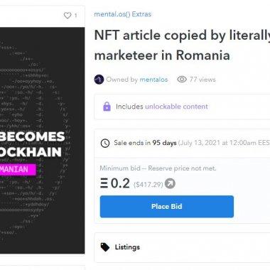 Primul NFT din presă: Articol de pe start-up.ro despre NFT-uri, scos la vânzare
