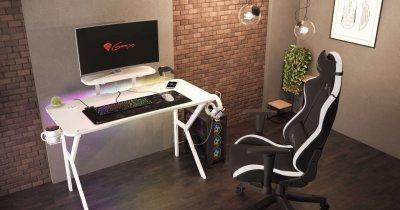 Genesis lansează biroul proiectat special pentru gameri: HOLM 320 RGB White