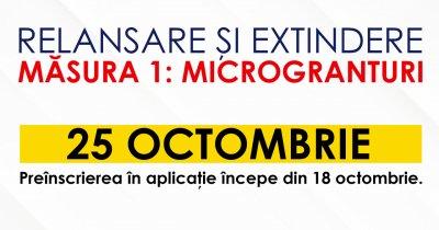 Măsura 1 - Relansare pe 25 octombrie și preînscriere pe 18 octombrie